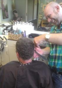 Shawn trims my hair